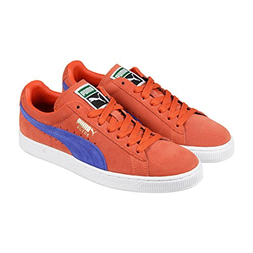 Puma Classic High Risk Red White Suede Leather Mens Trainers Vermillion Orange