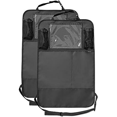 Organizador de asiento trasero (paquete de 2) con grandes bolsillos y soporte para iPad tablet, estera de cobertura para niños, par de protector de tapicería del asiento del coche impermeable para niños, ajuste universal – Ideal para niños.