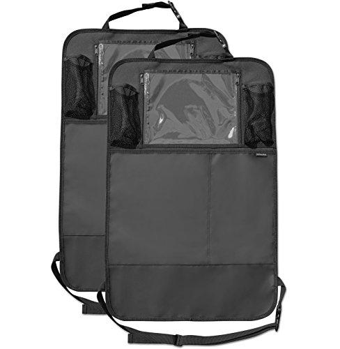 Preisvergleich Produktbild Premium Rückenlehnenschutz (2 Stück), Große Taschen und iPad-/Tablet-Fach, Auto Rücksitz-Organizer für Kinder, Autositz-Schoner wasserdicht, Kick-Matten-Schutz in universeller Passform