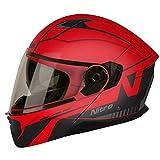 Nitro F350 Analog DVS Motorcycle Helmet - Matt Black, Red, Gunmetal L