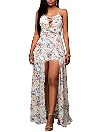 Blansdi Femmes Col V Profond Bretelles Maxi Robe Slim Fit Clubwear Sans Manches Dos Nu Floral Imprimé Bandage Sexy Salopette Cocktail Dress