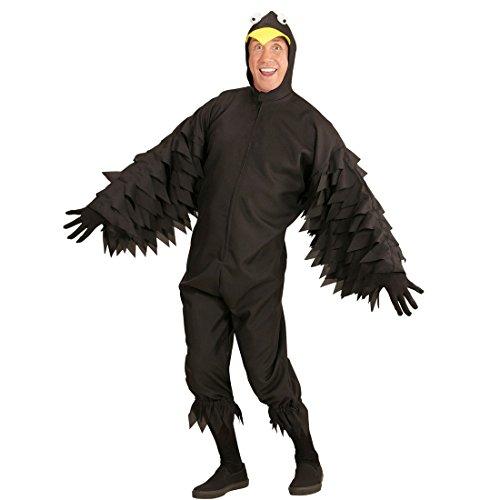 Amakando Rabenkostüm - XL (54) - Faschingskostüm Krähe Raven Herrenkostüm Tierkostüm schwarzer Vogel Tier Overall Märchen Vogelkostüm - Krähe Rabe Kostüm