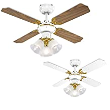 MiniSun - Ventilador de techo con luz, de diseño vintage, para frío y calor y con 3 focos - 4 aspas reversibles en roble y