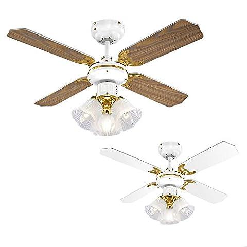 MiniSun – 90cm Deckenventilator mit einem weißen und antikmessingfarbigen Finish, 3 Spots und 4 umkehrbaren Flügeln (Eichenholz/weiß) – Deckenventilator mit Leuchten