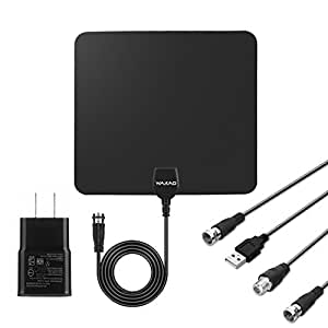 HDTV Antenna,WAAO TV Antenna 35 Mile Range with Detachable Amplifier Signal Booster Upgraded Version, USB Power Supply and 10ft Coax Cable Supports 1080p Full HD(Black)