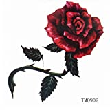 GRASHINE Sexy rote wasserdichte Rose Tattoo Sticker