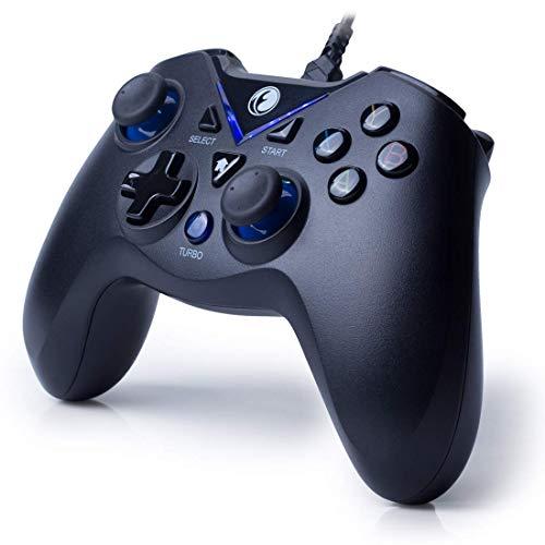LUYION Gamepad Controller di Gioco USB Cablata Dual Shock Plug Telecomando da Gioco Joypad Turbo Pausa PS3 Compatibile con Telefono Android Tavoletta/PC/TV TV,Blue