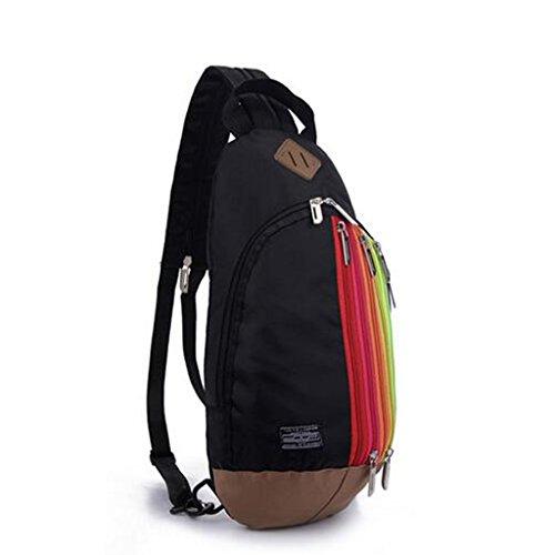 Regenbogen Sling Bag, kann als Umhängetasche / Brusttascher oder Rucksack verwendet, Reisezubehör Body Bag Schwarz