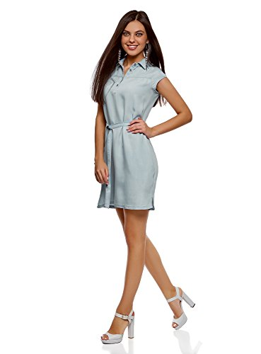 oodji Collection Damen Lyocell-Kleid mit Gürtel Blau (7000W)