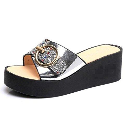 LDMB Frauen-Sommer-römischen Stil One Schriftart-Sequins Anti-Rutsch-atmungsaktive Pantoffeln Flip-Flops Strand-Schuhe Sandale Silver