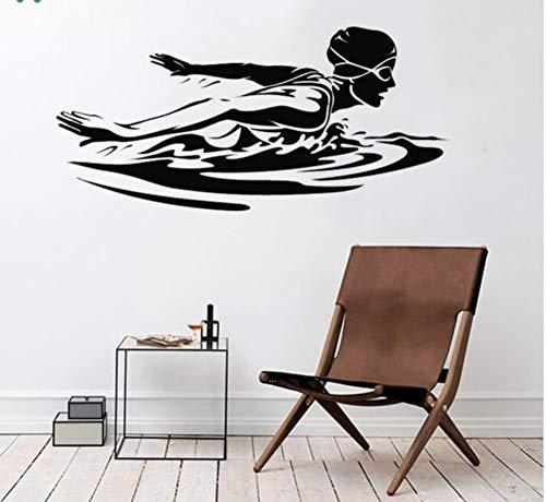 Qqasd Wandtattoo Weiblicher Schwimmer Wandaufkleber Vinyl Wandbild Für Schwimmbad Schwimmen 57X27 Cm