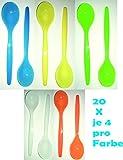 Die sch�nen Dinge Eierl�ffel aus Kunststoff, L�ffel Dessertl�ffel Kinderl�ffel Babyl�ffel 2X 10er Set in wei�, blau, gr�n, gelb, orange EINWEG-verpackt(bunt, 2)