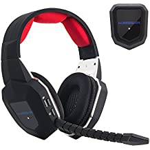 HAMSWAN Gaming Headset 2.4GHz Wireless Headphones with Detachable Mic and Rechargeable Battery for Xbox One, Xbox 360, PS3, PS4, PC, and TV (A Microsoft Adapter or Kinect is Needed for Use with Xbox one)