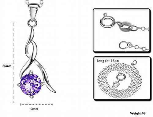 Ofertas de nuevos para FreshGadgetz Collar y pendientes de plata de ley con cristal de circonita púrpura, sin níquel ni plomo