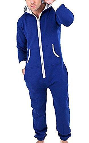 Juicy Trendz Herren Jumpsuit Jogging Trainingsanzug Anzug Overall Blau M (Front Plain Pant Polyester)