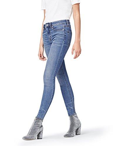 FIND AZW 8001 vaqueros mujer cintura alta,, Azul (Light Indigo), 40 (talla del fabricante: Medium)