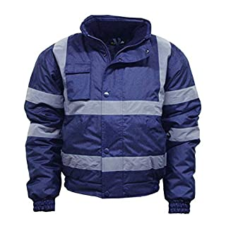 MMK Hi VIS Viz High Visibility Bomber Jacket Workwear Safety Security Concealed Hood Fluorescent Flashing Hooded Padded Waterproof Work Wear Coat S-5XL (S, Navy)