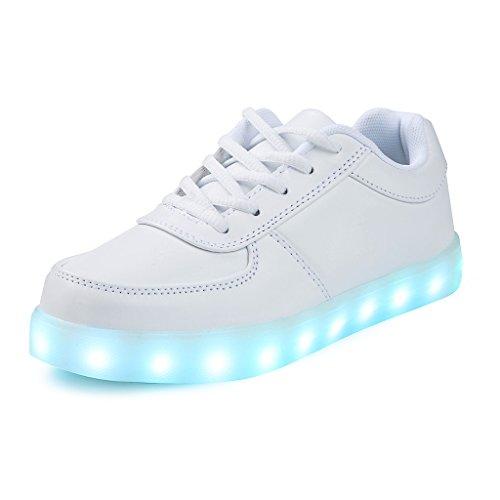 SAGUARO(TM) 7 Farbe USB Aufladen LED Leuchtend Sport Schuhe Sportschuhe Sneaker Turnschuhe für Unisex-Erwachsene Herren (Up Womens Light Schuhe)