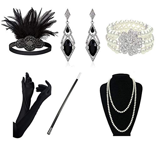 DRESHOW 1920s Accessories Sets Flapper Costume Gatsby Feather Headband Long Necklace Black Gloves Cigarette ()