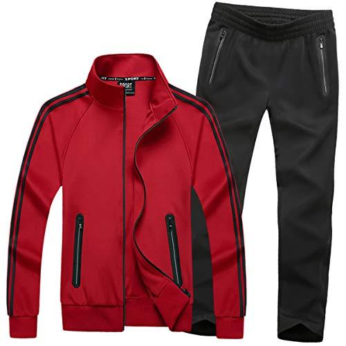 Mirecoo Herren Jogginganzug Trainingsanzug Fitness- Gr. XXL, Rot 18