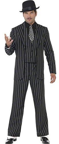 Erwachsene Herren 4 Stück 1920s Jahre Vintage Gangster Bugsy Malone Great Gatsby Kostüm Kleid Outfit M-XL - Schwarz, X-Large / - Bugsy Malone Kostüm
