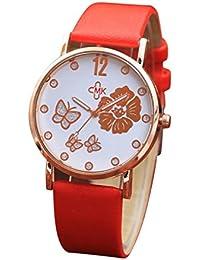 Logobeing Moda Pulsera de Color Digital Dial de Cuero Banda de Cuarzo Analógico Relojes