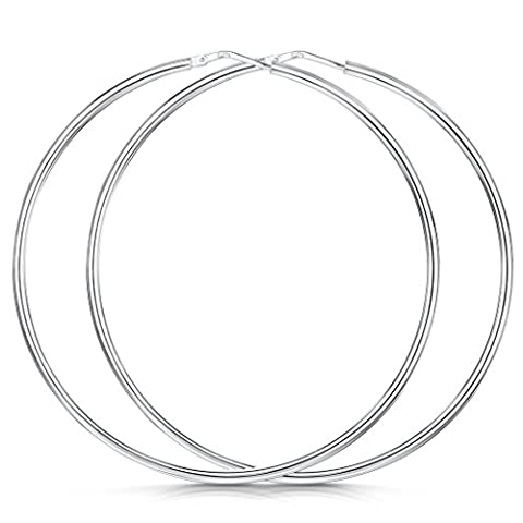 Amberta® 925 Sterling Silver Fine Circle Hinged Hoops - Round Creole Sleeper Earrings Diameter Size: 7 10 15 20 25 35 45 55 mm (55mm)