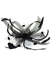 Striking Black Gothic style Burlesque Vintage fascinator On Comb ,Ideal Wedding,