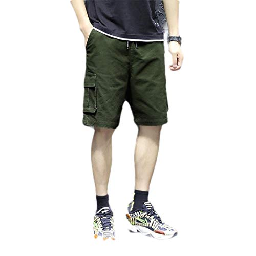 CuteRose Mens Athletic-Fit with Side Pockets Plus Size Vogue Short Pants Green XL -