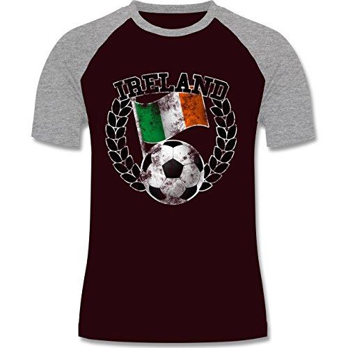 EM 2016 - Frankreich - Ireland Flagge & Fußball Vintage - zweifarbiges Baseballshirt für Männer Burgundrot/Grau meliert
