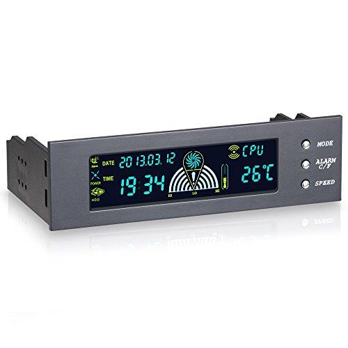 STW 5.25 inch 3 Kanäle Lüfter Geschwindigkeit Kontroller für PC Computer Temperatur Kontroller Front Panel Datum Zeit Temperature Anzeige Drive Bay, Schwarz