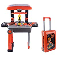 2 in 1 Deluxe Tool Play Set, Pretend Play Luggage Tool Kit for Kids with Suitcase Trolley, 46 Accessories