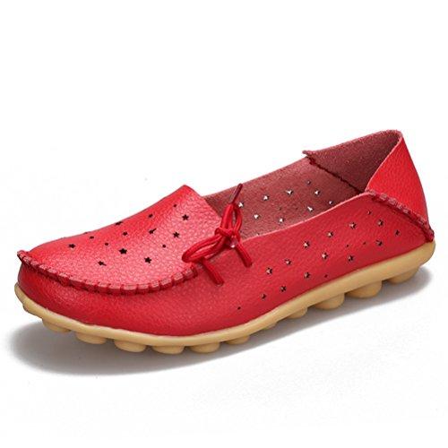 Miagolio Donna Scarpe Stringate Basse Mocassino Flats In Pelle Morbide Casuale Di Vari Colori Tglia 34-43 Rosso