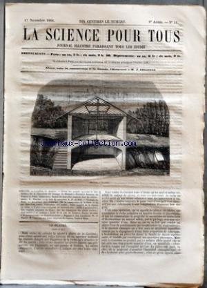 SCIENCE POUR TOUS (LA) [No 51] du 17/11/1864 - LE PLATRE PAR G. JOUANNE REVUE DES PROGRES AGRICOLES ET HORTICOLES - DE LA FABRICATION DU FROMAGE DE HOLLANDE - PREMIERE FLORAISON EN FRANCE DU PAVIA CALIFORNICA - EMPLOI DE NOUVELLES ESSENCES DANS LES REBOISEMENTS PAR D. NOUCHET LE BOIS DE CAMPECHE PAR L. F. DE HOLE GEOLOGIE DU NORD - ACADEMIE DES SCIENCES - DE LA CONSERVATION DE LA FONTE ET DU FER DANS L+¡EAU DOUCE - FABRICATION DES ETOFFES - TRAITE COMPLET DE LA FILATURE DU COTON