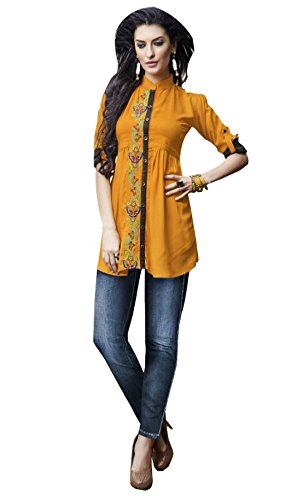 Kurti (J B Fashion Women\'S Rayon Mustard Colour Kurta (k2029))