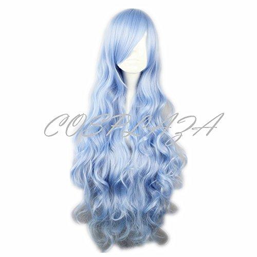 splay Wigs lang gelockt Blau Date a Live Yoshino Halloween Karneval Party Haar (Date-halloween-kostüme)