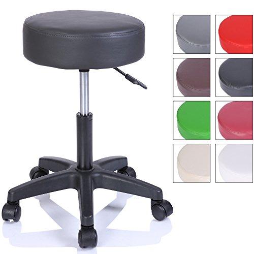 TRESKO Taburete con Ruedas Taburete Giratorio cosmético de Trabajo Consulta, Regulable en Altura, Giratorio en 360°, con Asiento Acolchado de 10 cm y 8 Variantes de Colores (Negro)