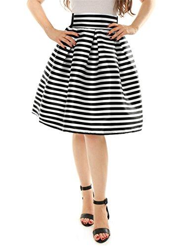 allegra-k-mujer-de-rayas-talle-alto-plisado-lnea-a-falda-media-pierna-sinttico-blanco-100-polister-m