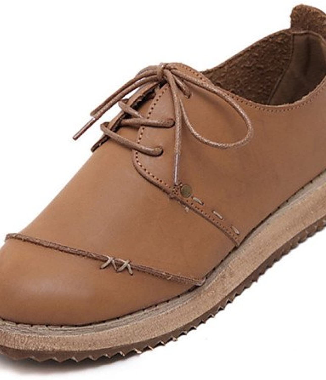ZQ Zapatos de mujer - Tacón Cuña - Punta Redonda - Oxfords - Casual - Semicuero - Marrón / Beige , brown-us8 /...