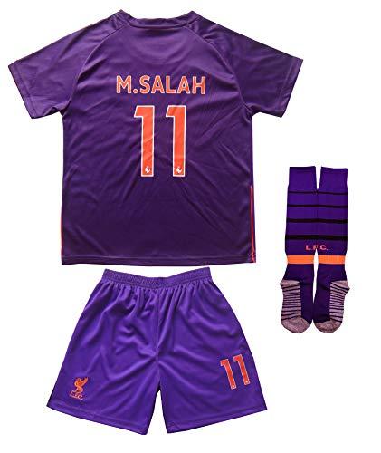 2018/2019 Liverpool #11 Salah Auswärts Kinder Fußball Trikot Hose und Socken (24 (6-7 Jahre))