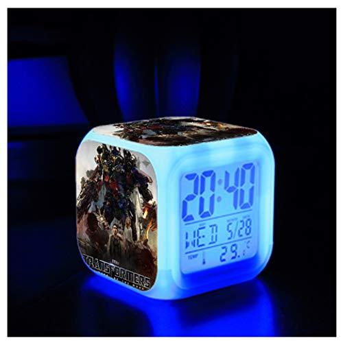 ZhangXF Transformers Wecker, Superheld 3D Stereo LED Nachtlicht elektronische Wecker Nacht Schlafzimmer Geburtstagsgeschenk Wecker (Sieben Farben),08 (Transformatoren Superhelden Sind)