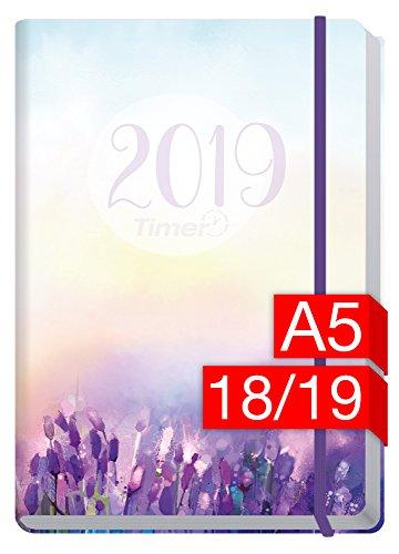 Chäff-Timer Premium A5 Kalender 2018/2019 [Flieder] 18 Monate Juli 2018-Dezember 2019 - Gummiband, Einstecktasche - Terminkalender mit Wochenplaner - Organizer - Wochenkalender