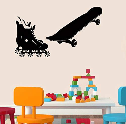 Qqasd Rollschuhe Und Skateboard Wandaufkleber Für Kinder Kindergarten Vinyl Decals Home Decor Aufkleber 36X60Cm