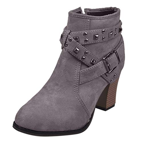 Xuthuly Mode Frauen Retro Flock Kreuz Nieten Band Decor Stiefeletten Freizeit Reine Farbe Quadratische Fersen Reißverschluss Einzelnen Schuhe