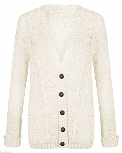 Womens Long Sleeve Chunky Cable Knitted Button Ladies Grandad Long Cardigan Size 8-26 (UK S/M (8-10), Off White)