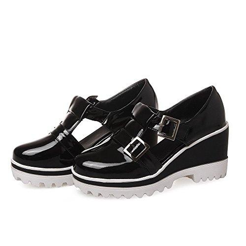 AllhqFashion Femme Boucle Rond à Talon Haut Verni Couleur Unie Chaussures Légeres Noir