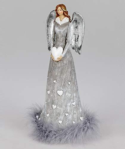 Klp Engel Deko Schutzengel mit Federn Herz Weihnachtsengel Skulptur Figur Elfe Fee