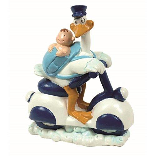 Dillards Figura Tarta Bautizo Cigüena azul bebe moto