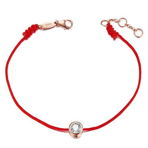 SHEGRACE Bracelet Femme en Argent 925 Sterling avec AAA Zircon, Fil Rouge, Bijoux pour Femme, Cadeaux pour Femme/Fille/Copine/Petite Amie/Soeur(Réglable)