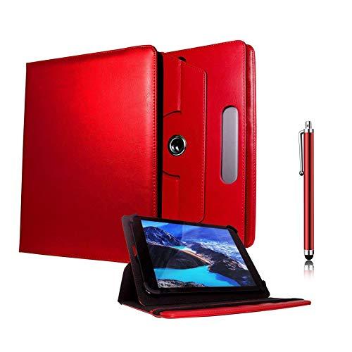 Galaxy Store Rot Universal PU Leder Tasche Hülle 360 Grad Drehung Case mit Kapazitiver Stift Touch für Kiano SlimTab 8